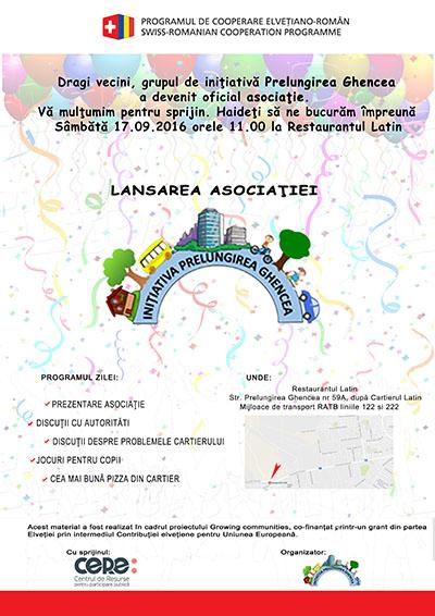 afis pentru evenimentul de lansare a Asociatiei